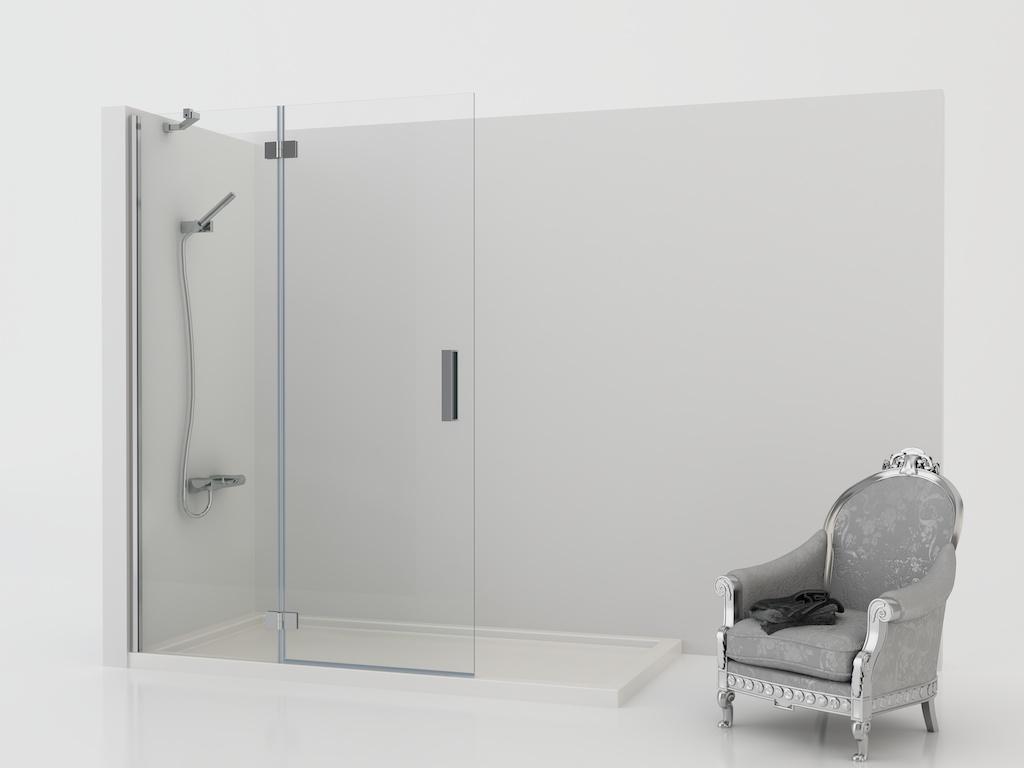 Mampara de ducha con panel fijo y una hoja abatible
