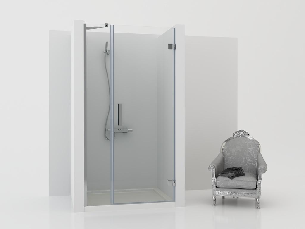 Mampara de ducha con panel fijo y una puerta
