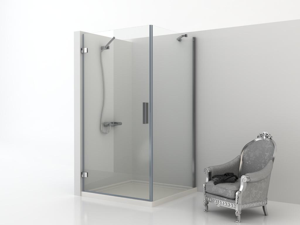 Mampara angular de ducha con panel fijo y una puerta