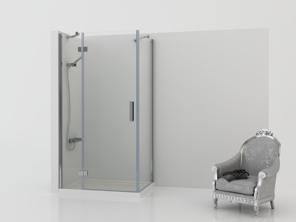 Mampara angular de ducha con dos paneles fijos y una puerta