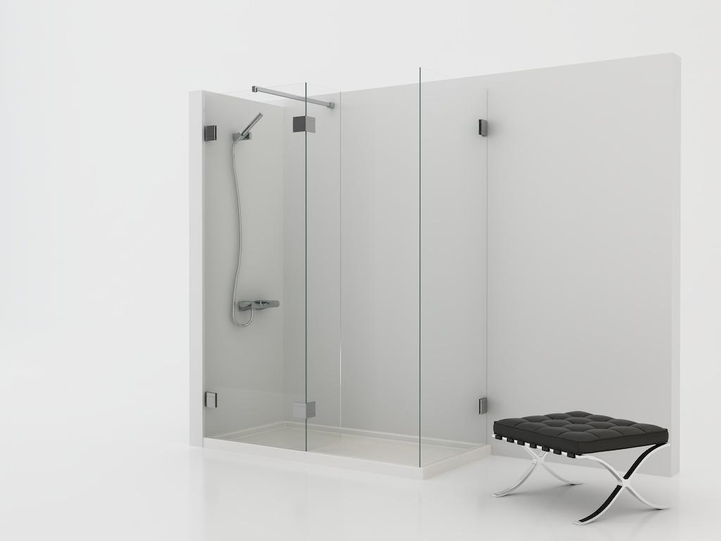 Mampara angular de ducha con tres cristales