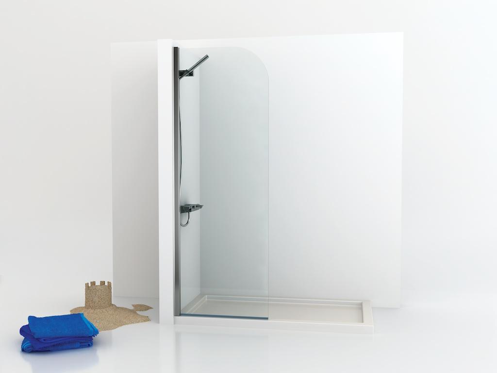 Mampara de ducha fija de cristal curvado