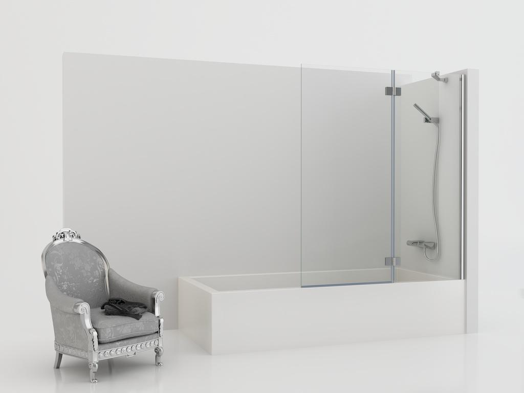 Mampara de bañera con panel fijo y una hoja abatible