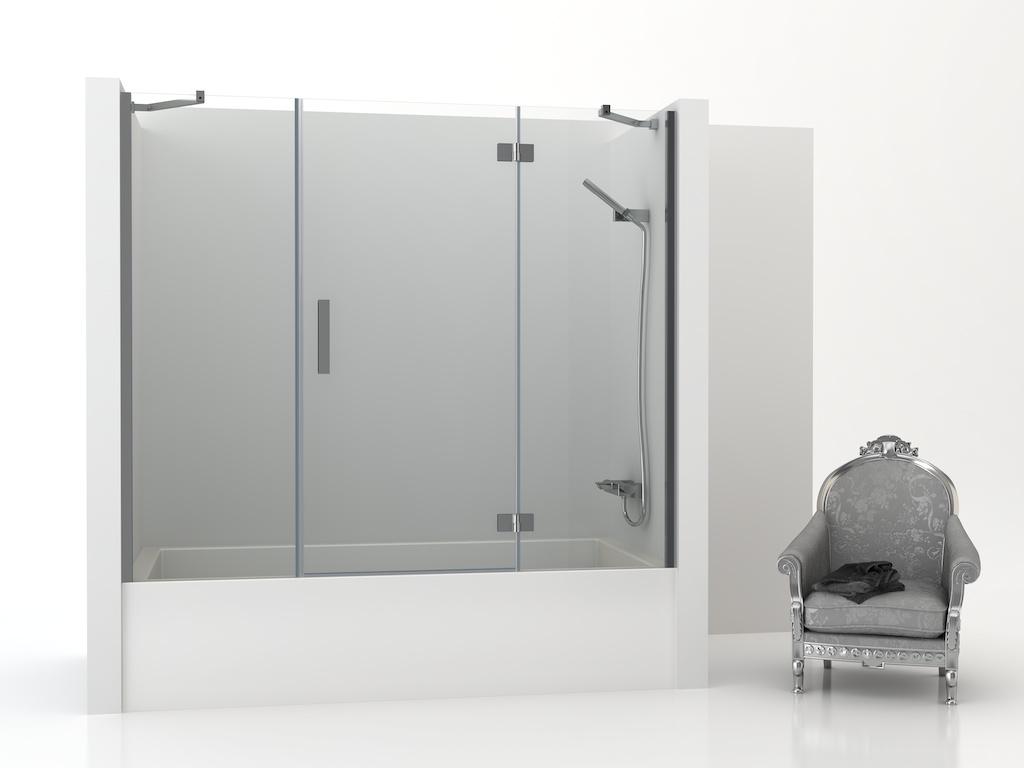 Mampara de bañera con dos paneles fijos y una puerta