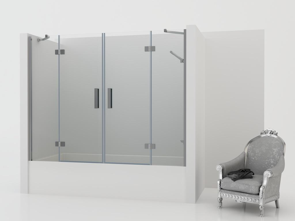 Mampara de bañera con dos paneles fijos y dos puertas