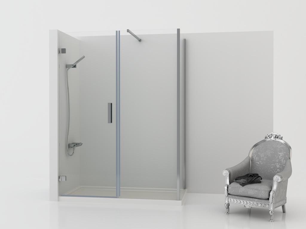 Mampara de ducha rectangular con dos paneles fijos y una puerta