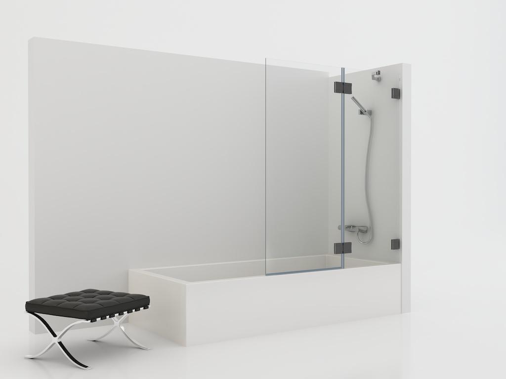 Mampara de cristal con panel fijo y una hoja abatible