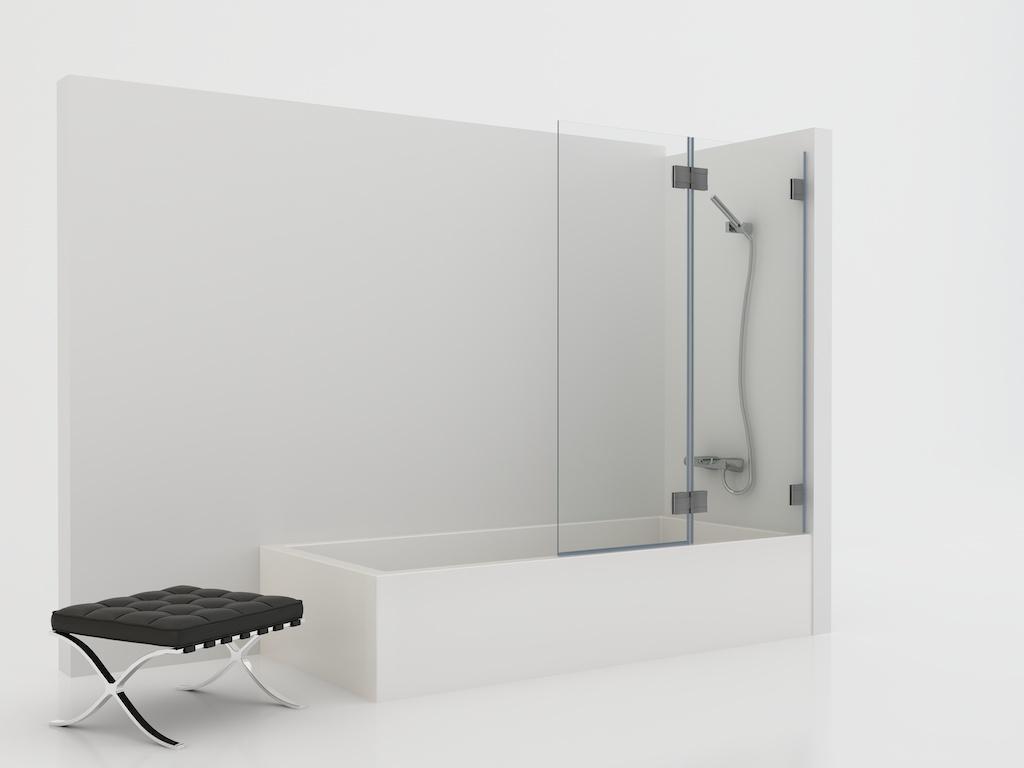 Mampara de vidrio con panel fijo y una hoja abatible