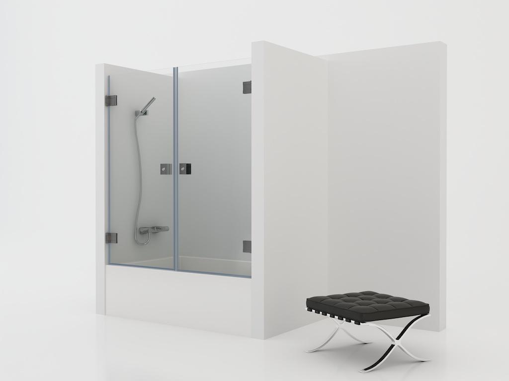 Mampara de cristal con dos puertas