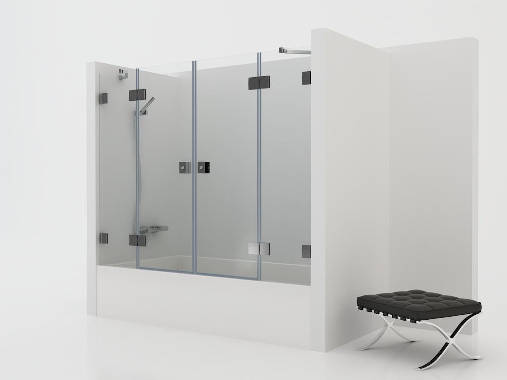 Mampara de cristal con dos paneles fijos y dos puertas