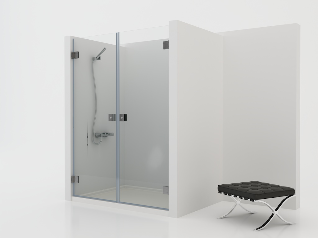 Mampara de ducha rectangular con dos hojas abatibles