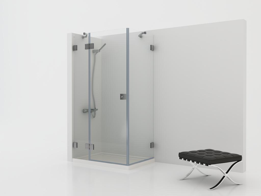 mampara cristal con tres paneles fijos y una puerta