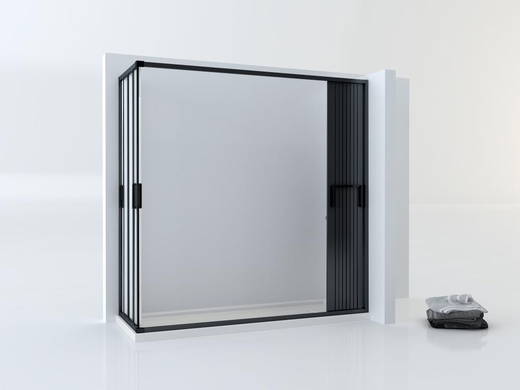 Mampara plegable negra para ducha rectangular