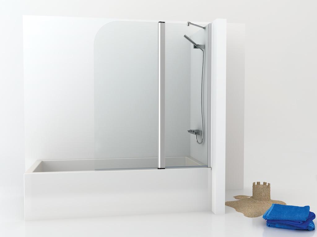 Mampara de bañera con panel fijo y una hoja abatible curvada