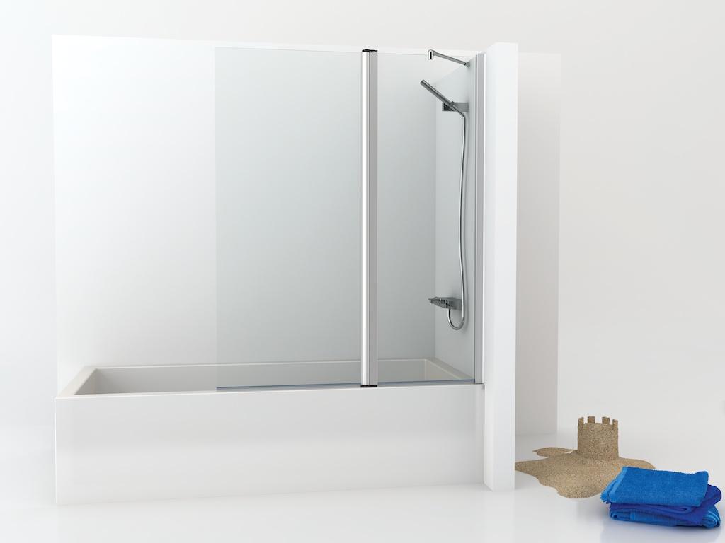 Mampara de bañera con panel fijo y una hoja abatible recta