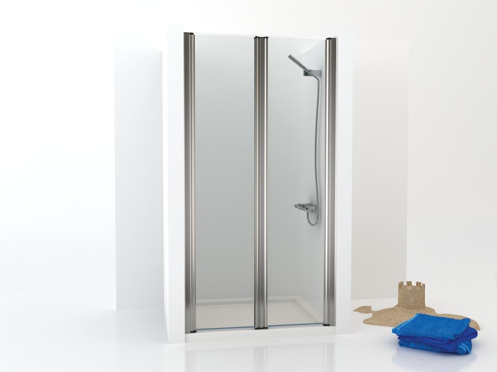 Mampara de ducha con dos puertas de cristal