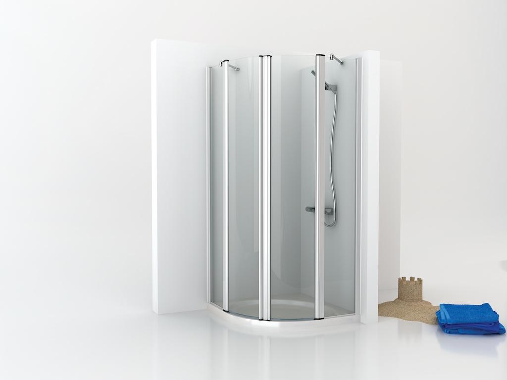 Mampara de ducha semicircular con dos paneles fijos y dos puertas