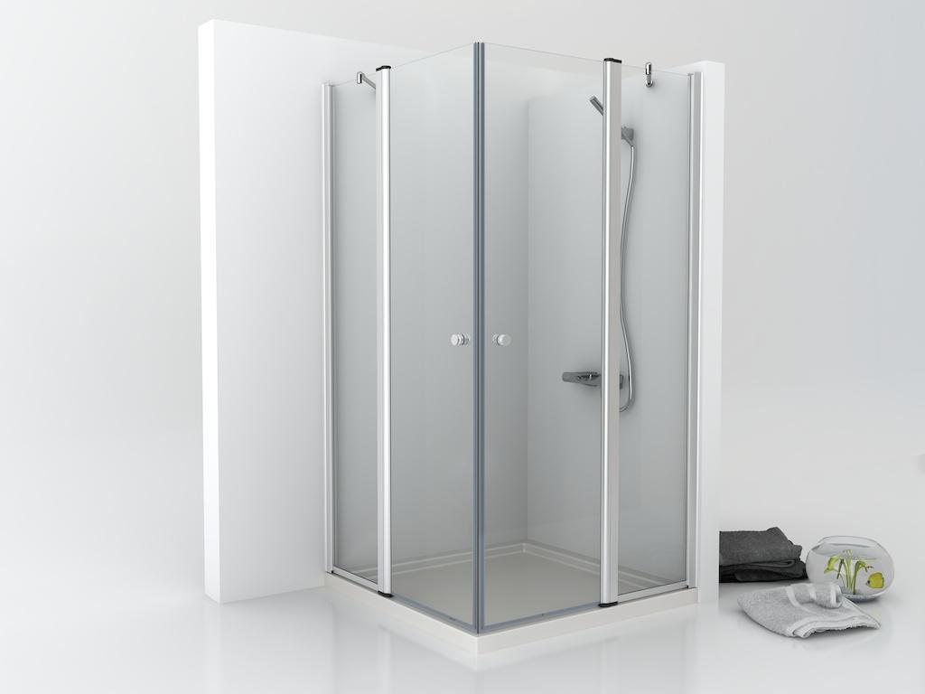 Mampara vidrio de ducha con dos hojas fijas y dos puertas