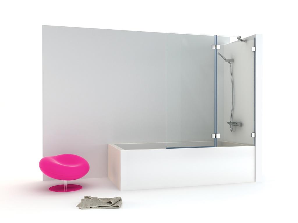 Mampara bañera con cristal fijo y una hoja abatible