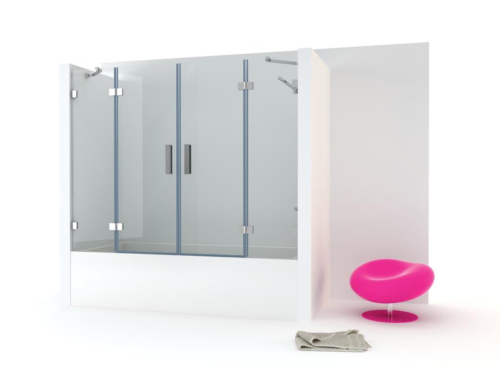 Mampara bañera con dos paneles fijos y dos puertas