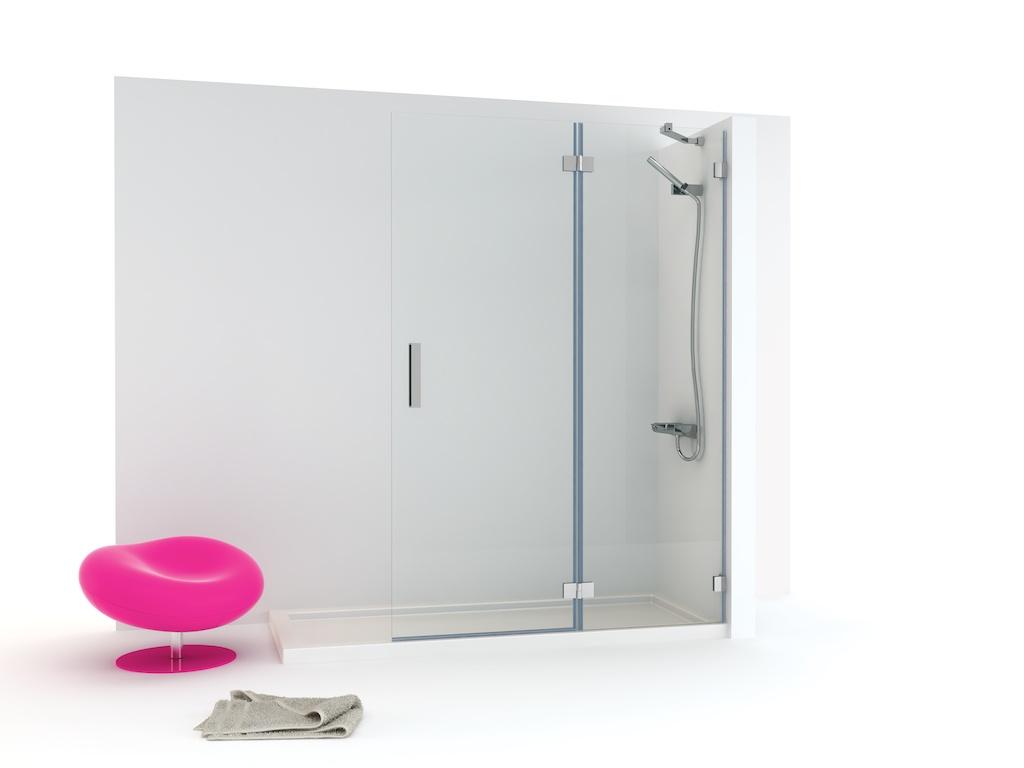 Mampara de ducha con cristal fijo y una hoja abatible