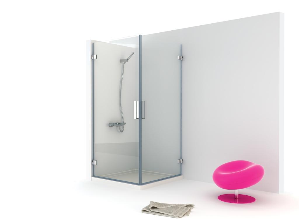 Mampara angular de ducha con dos hojas abatibles