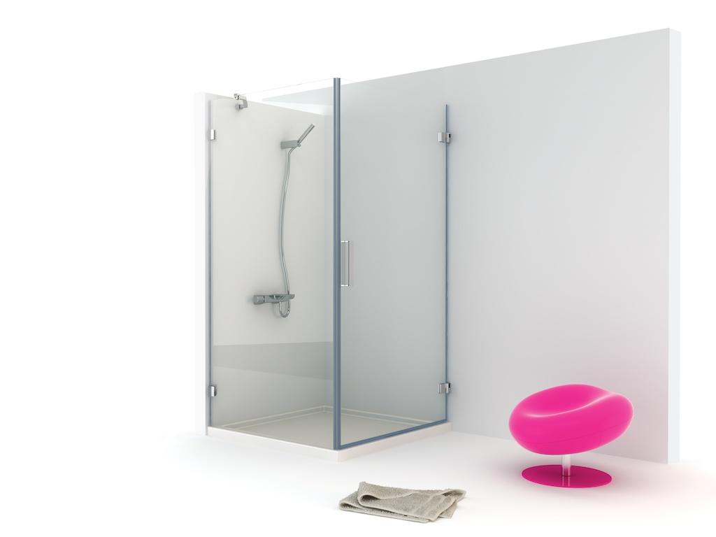Mampara angular de ducha con una hoja fija y una puerta