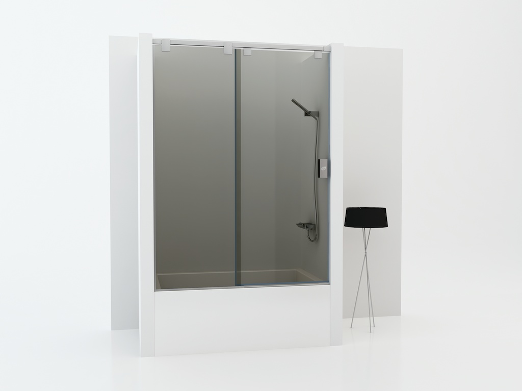 Mampara para bañera con un cristal fijo y una puerta corredera