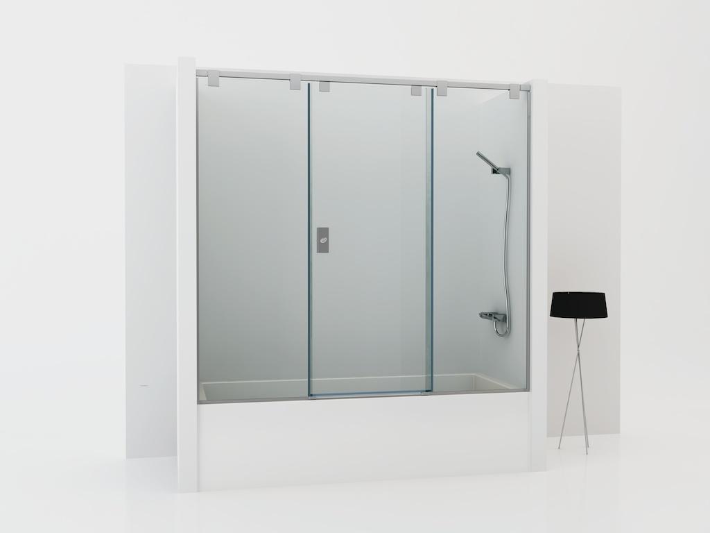 Mampara para bañera con dos cristales fijos y una puerta corredera
