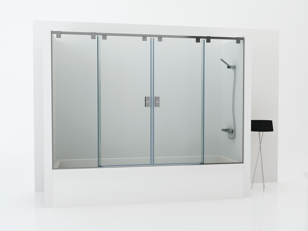 Mampara para bañera con dos cristales fijos y dos puertas correderas