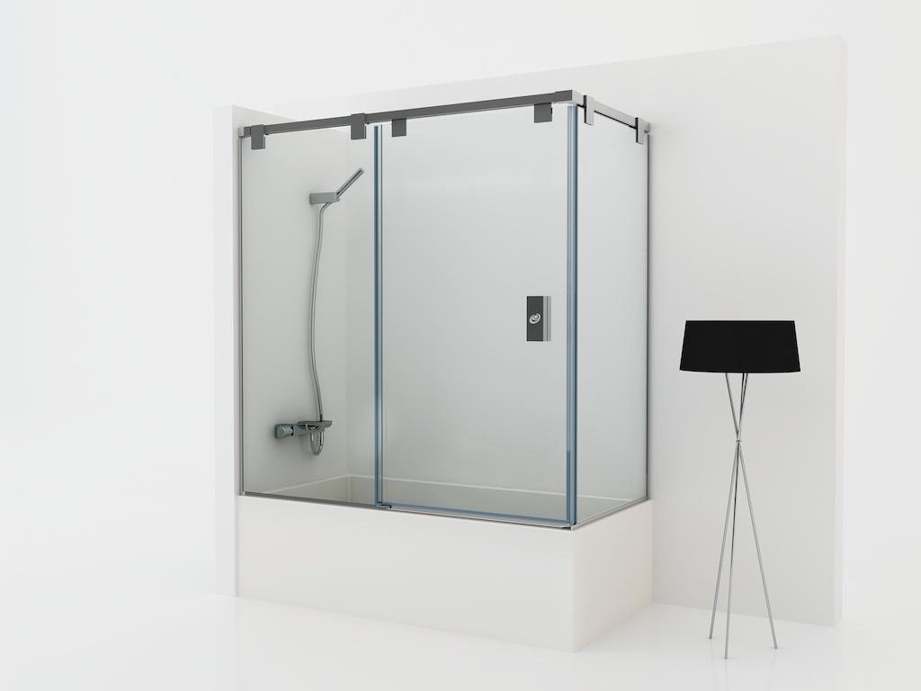 Mampara angular para baño con dos cristales fijos y una puerta corredera
