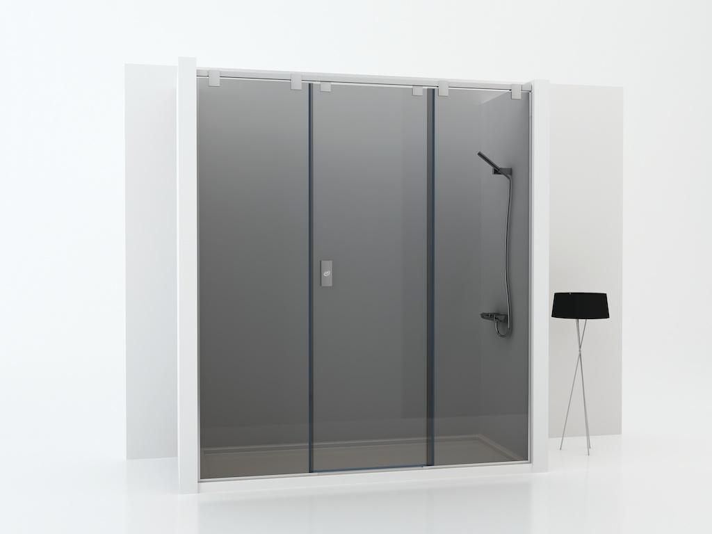 Mampara de ducha con dos cristales fijos y una puerta corredera